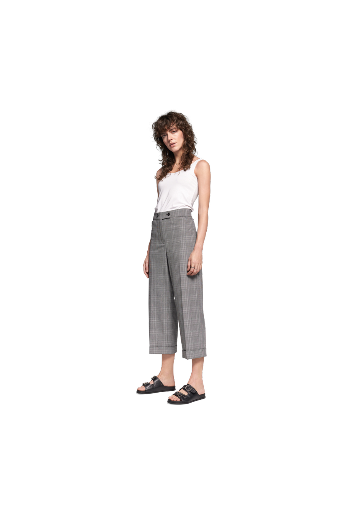 Wide-fit Pants mit Glencheck-Muster