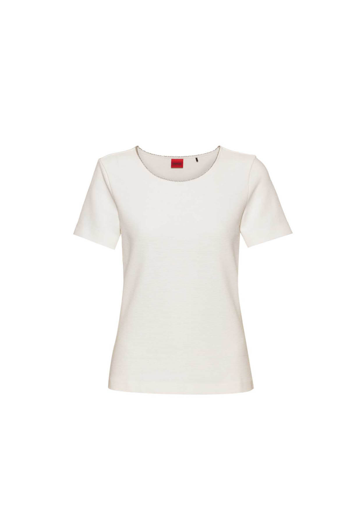 T-Shirt aus Stretch-Jersey mit Metallbesatz Natural